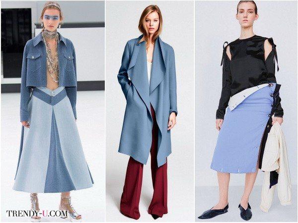 Chanel, Escada и Celine на показах коллекций весна-лето 2016 сочетали цвет серенити с серо-голубым, марсалой и черно-белым