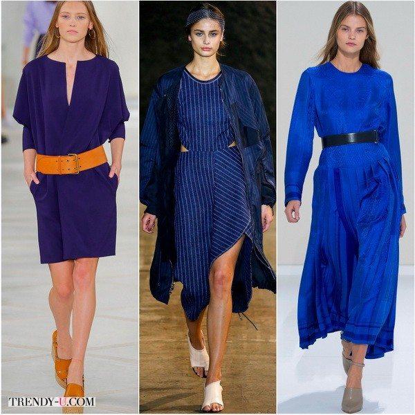 Синий цвет в платьях Ralph-Lauren, 3.1-Phillip-Lim, Hermes весенне-летнего сезона 2016
