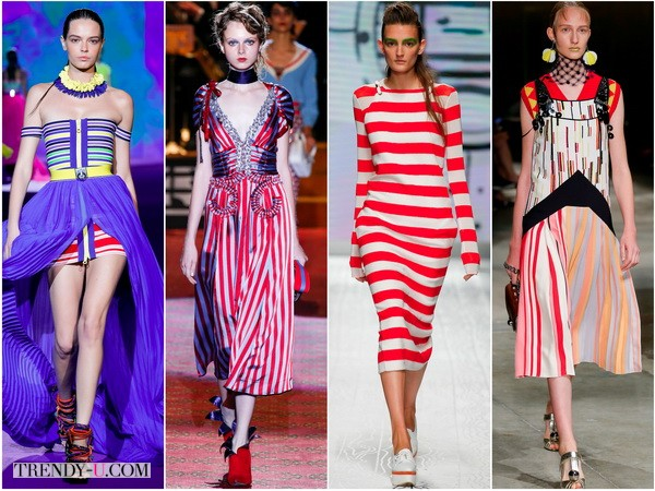 Стильные полосатые платья в коллекциях весна-лето 2016 Dsquared2, Marc-Jacobs, Max-Mara, Prada