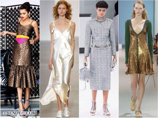 Платья цвета металлик весна-лето 2016 от Duro-Olowu, Calvin-Klein, Chanel, Paco-Rabanne