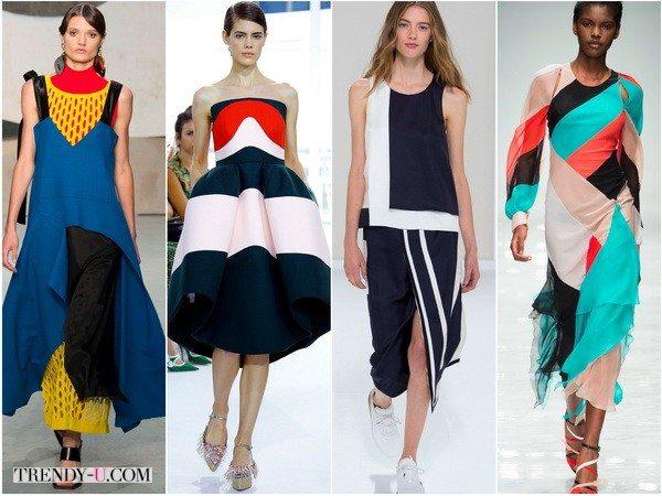 Цветовые блоки в платьях весна-лето 2016 от Marni, Delpozo, Hermes, Blumarine