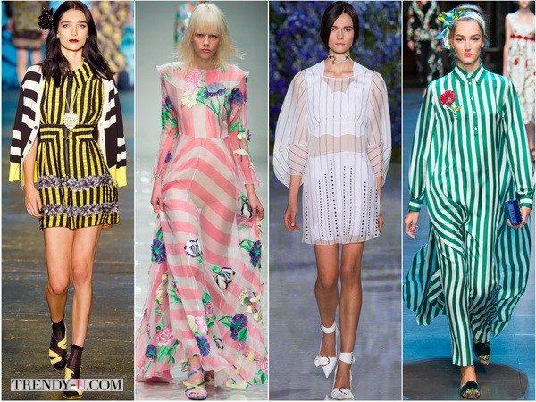 Платья в полоску весной-летом 2016 от Anna-Sui, Blumarine, Christian-Dior, Dolce&Gabbana