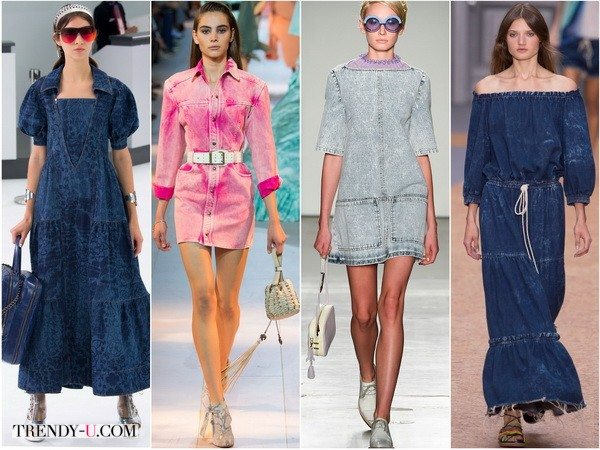 Платья из джинсовой ткани всегда популярны. Показы весна-лето 2016 Chanel, Roberto-Cavalli, Karen-Walker, Chloe