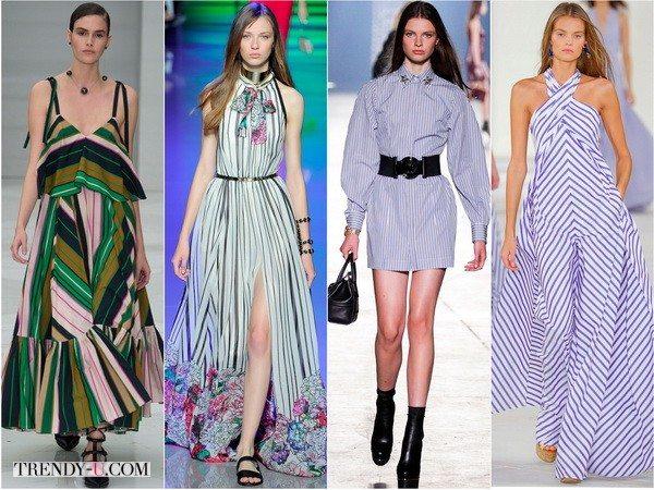 Полосатый принт на платьях показов весна-лето 2016 от Salvatore-Ferragamo, Elie-Saab, Versace, Ralph-Lauren