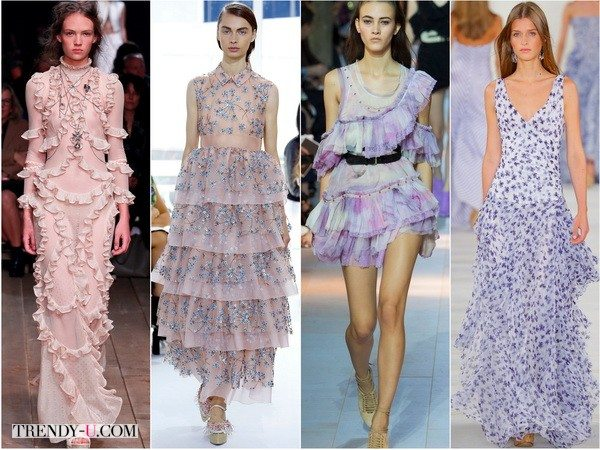 Платья с романтичными оборками и рюшами весно-лето 2016 от Alexander-McQueen, Delpozo, Roberto-Cavalli, Ralph-Lauren