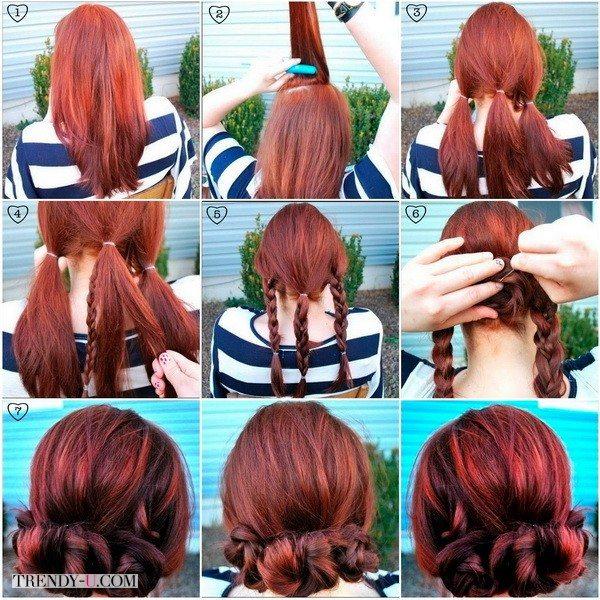 Вечерние прически с косами на средних волосах очень просты и эффектны