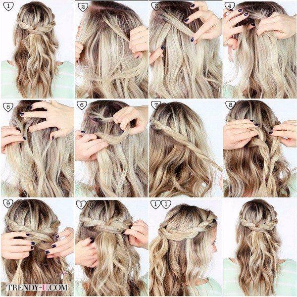 Небрежные локоны с косами прекрасно подойдут для вечернего образа