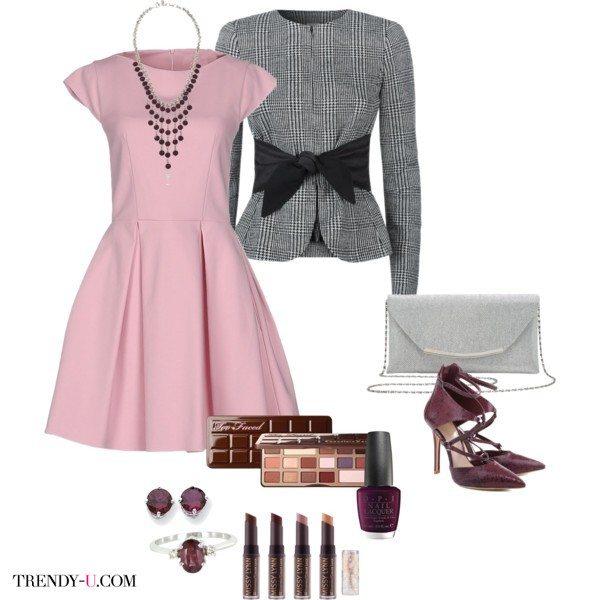 Розовый кварц в сочетании с черным, серым, серебристым и цветом марсала