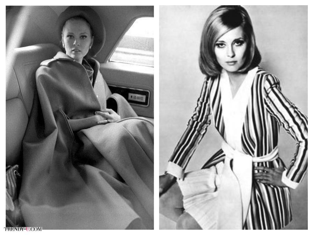 Модные образы Фей Данауэй: пальто-кейп, длинный кардиган в полоску