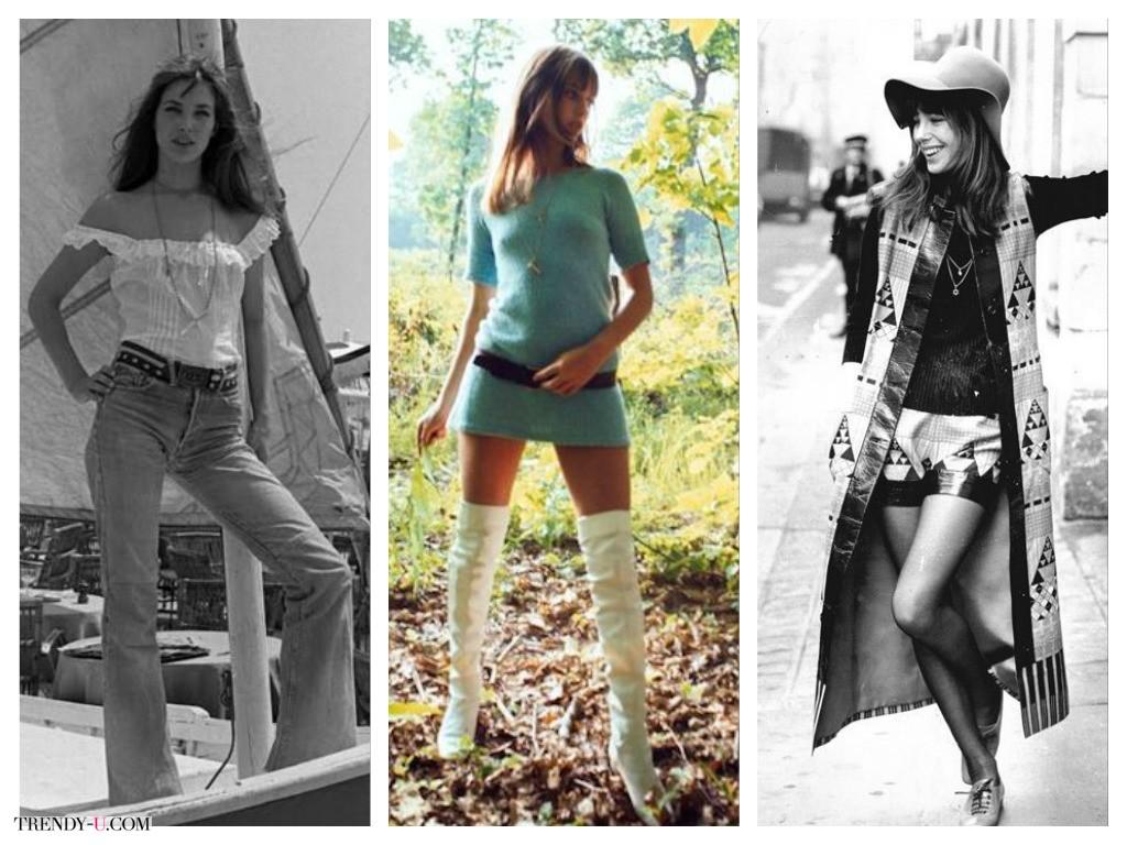 Модные образы Джейн Биркин: расклешенные джинсы, ботфорты, длинный кардиган без рукавов