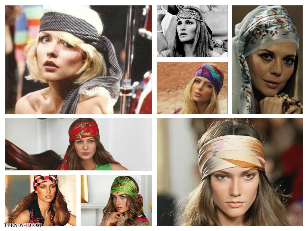 Как носить шарф на голове? Как носили в 70-х!