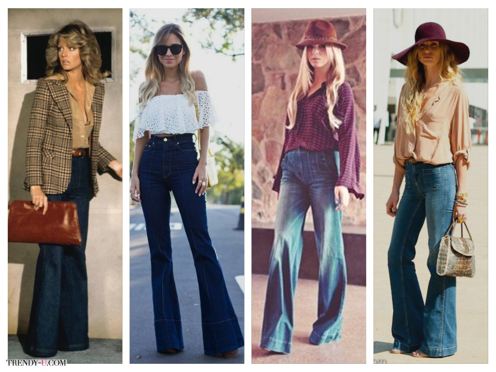 Модные расклешенные джинсы. В 70-е и сегодня.