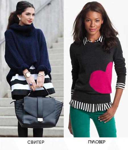Разница между свитером и джемпером / пуловером