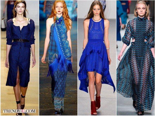 Altuzarra, Anna-Sui, Issa, Fendi предлагают платья глубокого синего цвета весной-летом 2016