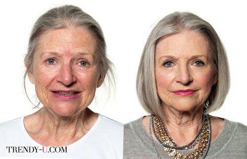 Женщина с макияжем и прической выглядит моложе