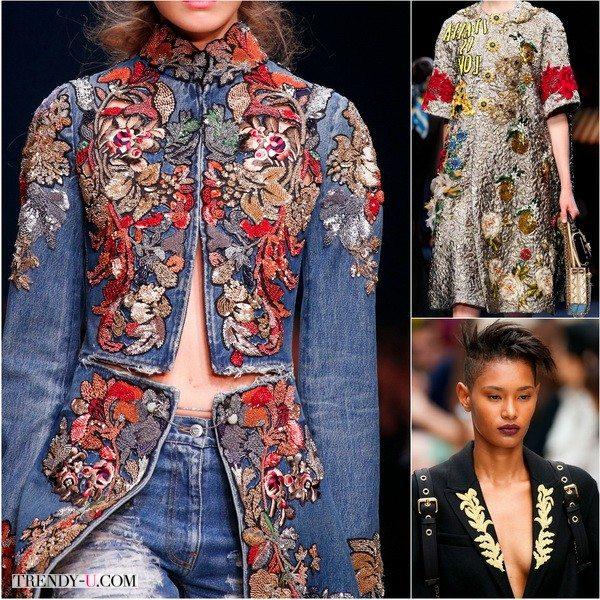 Вышивка и апликации в коллекциях весна-лето 2016 от Alexander McQueen, Dolce&Gabbana и Burberry
