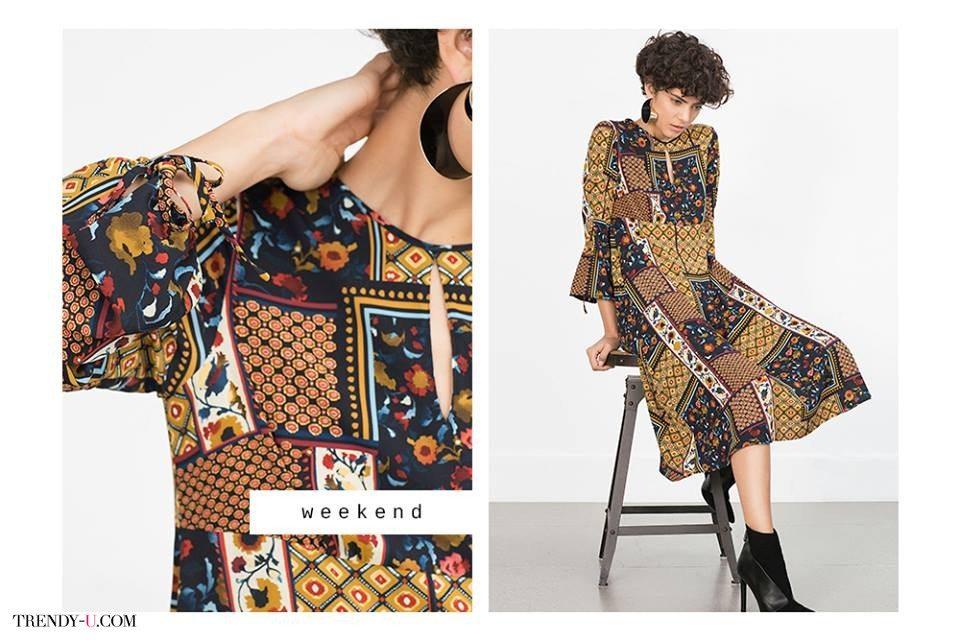 Платье с принтом в стиле пэтч-ворк в духе 70-х