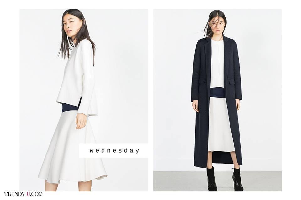 Черно-белая гармония. Юбка-миди и свободный свитер + черное пальто