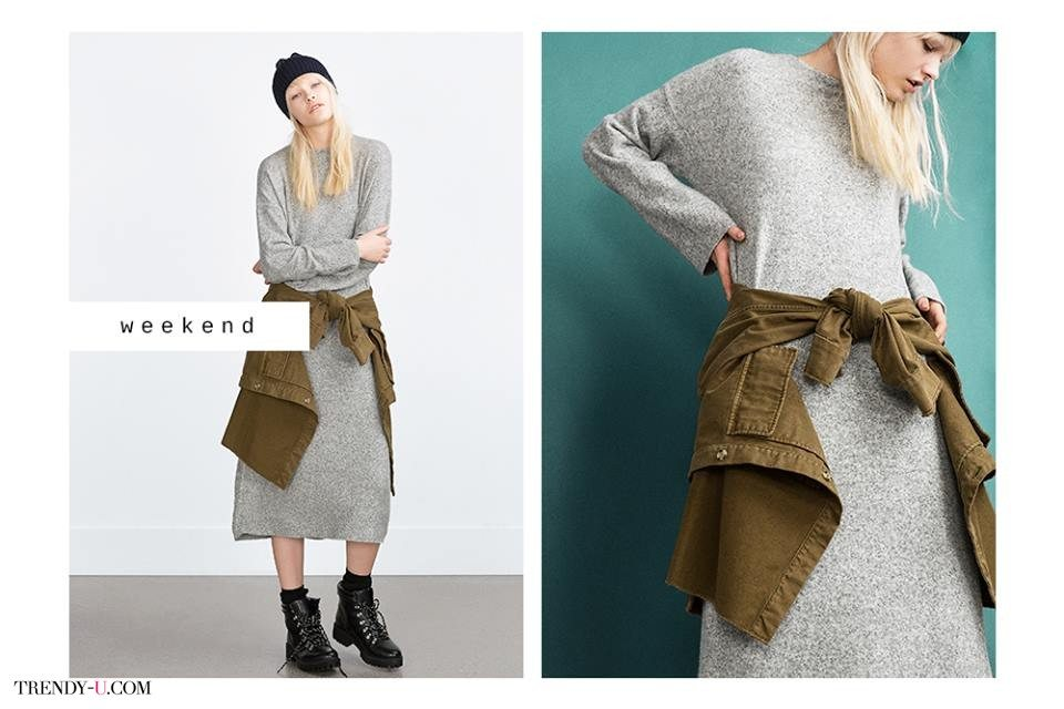 Серое трикотажное платье-свитер. Удобно, как в пижаме!