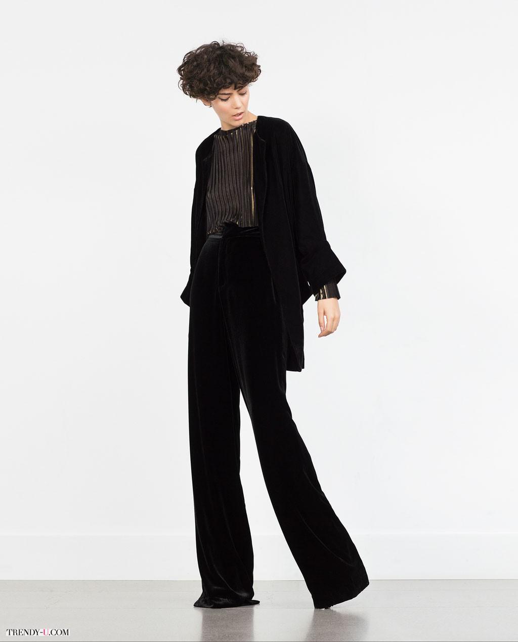 Нарядный костюм - черные широкие брюки и жакет-кимоно