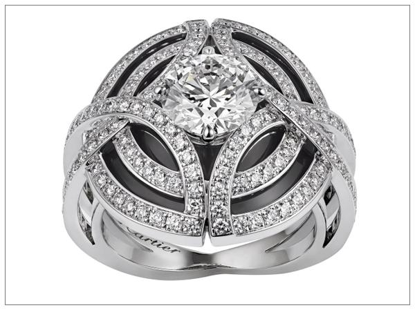 Дорогие ювелирные украшения с бриллиантами: кольцо Galanterie de Cartier 2016 из белого золота