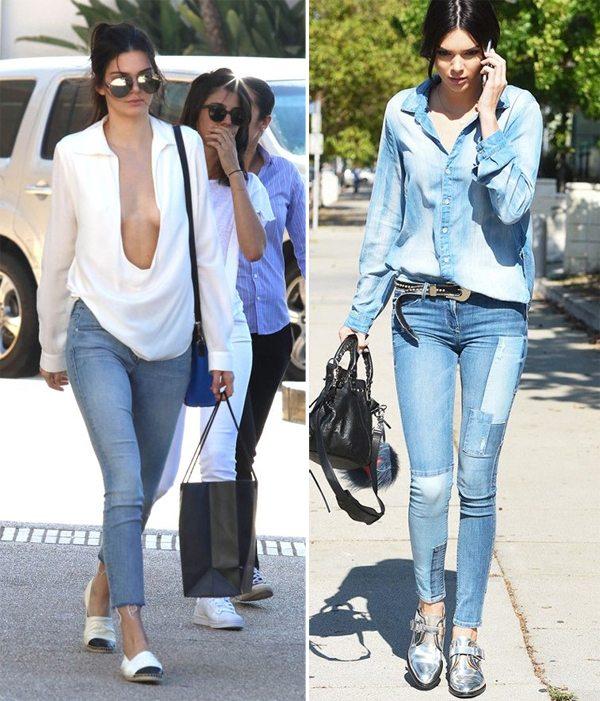 Kendall Jenner: джинсы и белая рубашка и total denim look