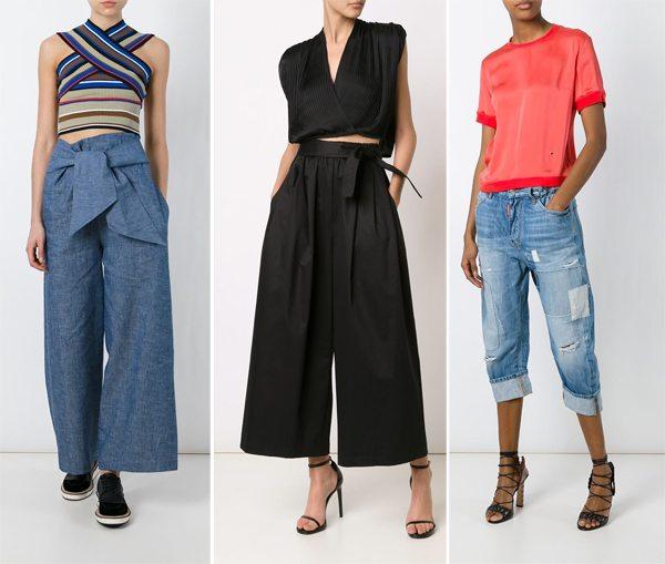 Модные брюки, колюты и бриджи из денима весна-лето 2016