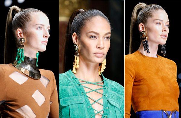 Прическа конский хвост на моделях Balmain весна-лето 2016