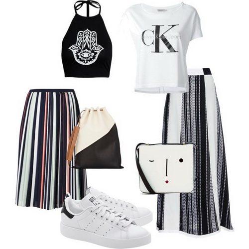 Белые кроссовки Adidas с юбками и топами