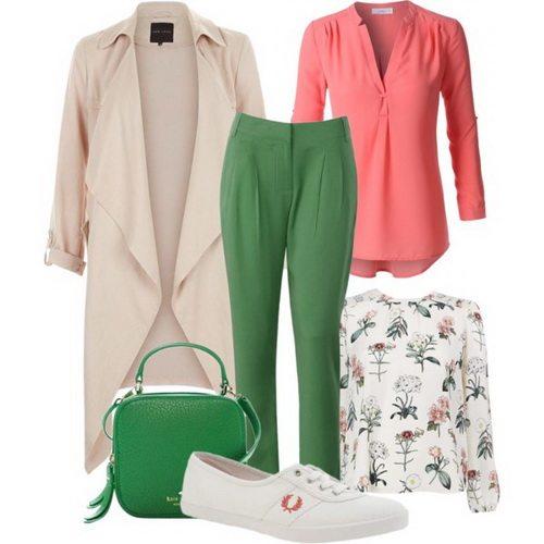 Белые женские кроссовки Fred Perry с брюками