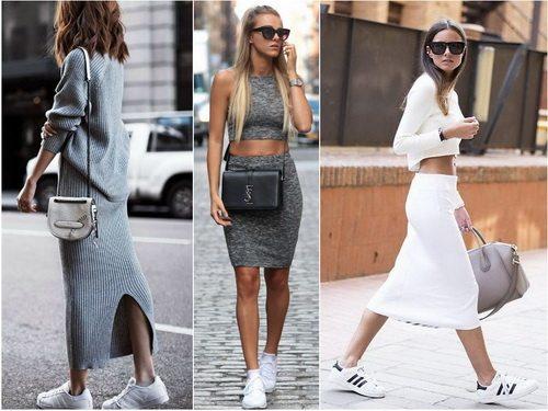 Кроссовки белого цвета с трикотажными платьями и юбками
