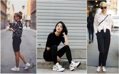 Белые женские кроссовки отлично будут смотреться как с классическими брюками, так и с лосинами