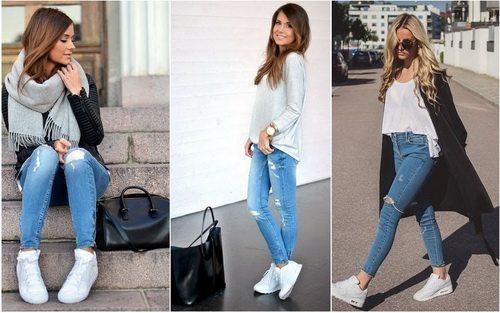 Джинсы и белые кроссовки известных брендов - классика жанра