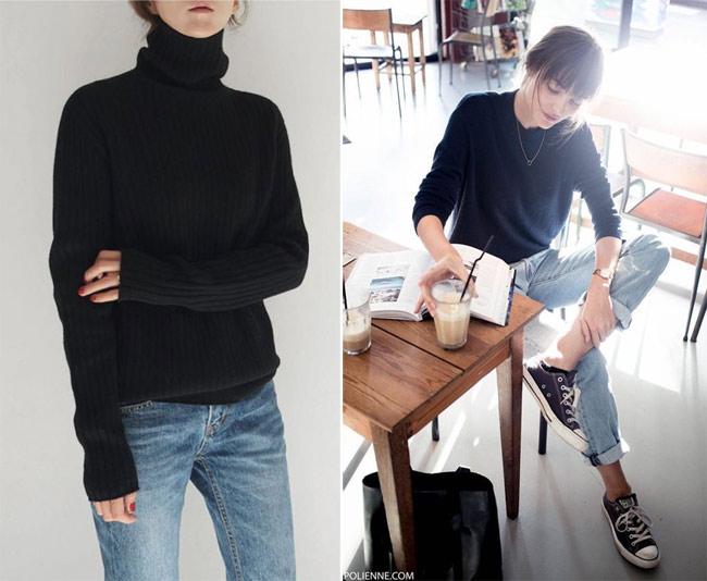 Образ в минималистическом стиле: джинсы и черный свитер