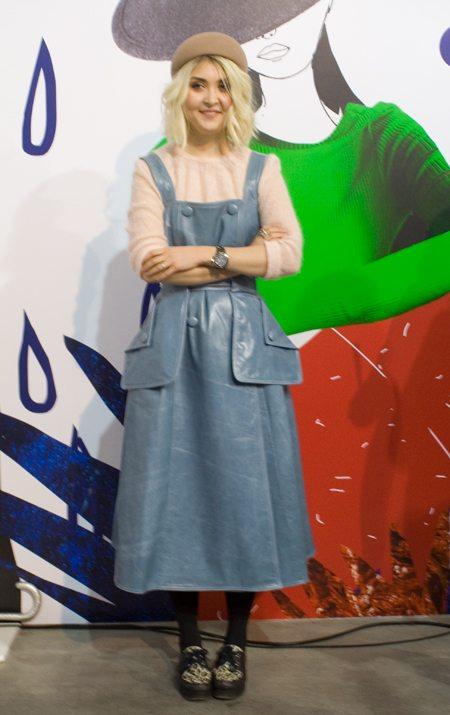 Кожаный сарафан цвета серенити