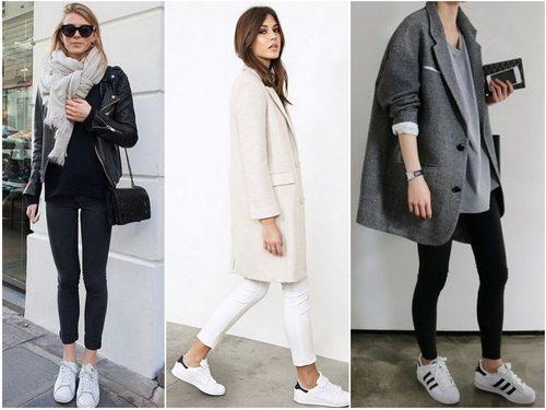 45f3fe61c528 С чем носить белые кеды  узкие брюки и прямое пальто или куртка