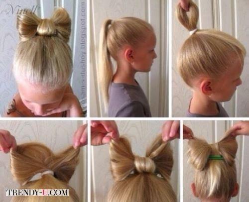 Как сделать бант на из волос для девочки в детском саду
