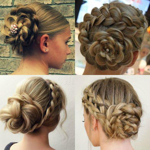 Цветок из кос для девочки на выпускной