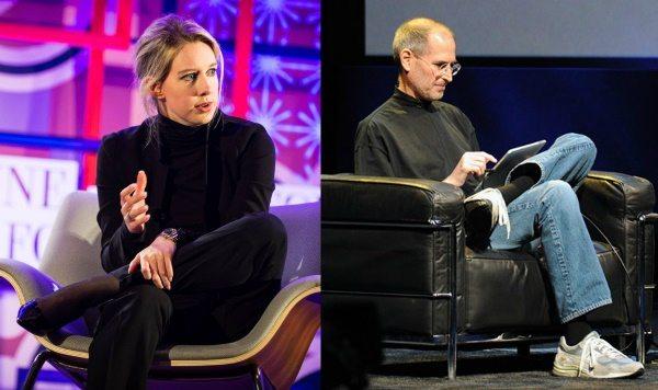 Элизабет Холмс даже сидит так же, как любил сидеть Стив Джобс, закинув ногу на ногу. Но, согласитесь, элегантные лодочки смотрятся на бизнес-вумен куда удачнее New Balance!