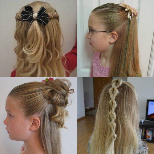 «Половинчатый» конский хвост для длинных прямых волос на выпускной