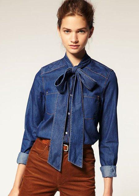 В стиле 70-х: джинсовая блузка с бантом!