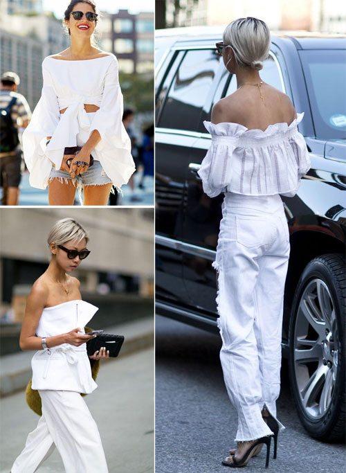 Белая блузка и топы с открытыми плечами для лета 2017