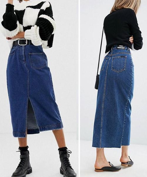 Джинсовая юбка в сочетании со свитером