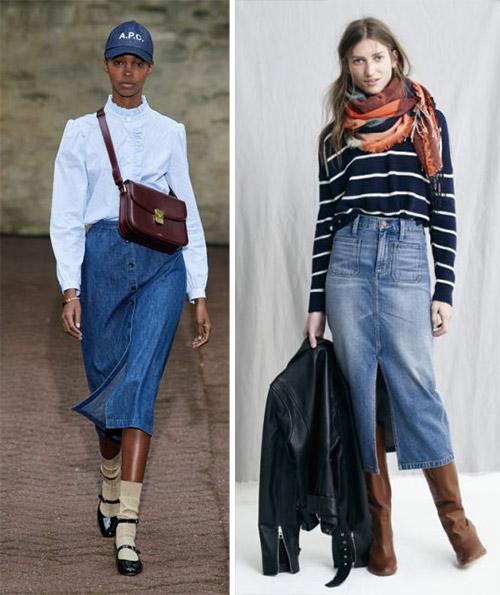 Джинсовая юбка в сочетании с рубашкой / свитером