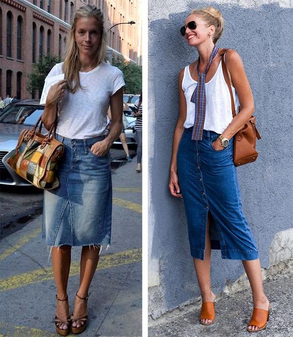 Джинсовая юбка летом: с чем носить
