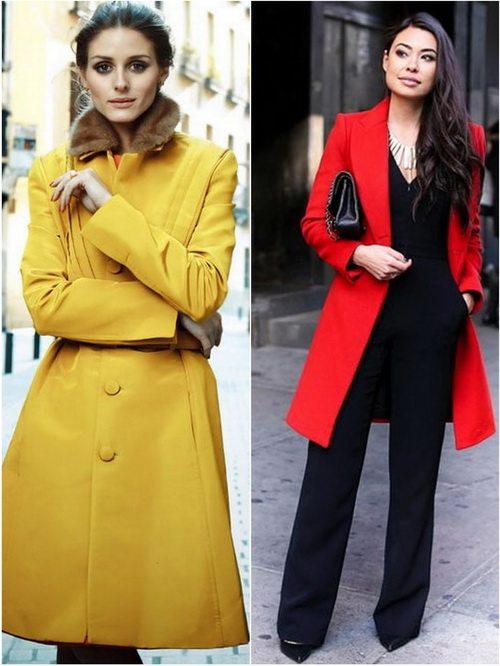 Яркие пальто в классическом стиле смотрятся очень эффектно на девушках