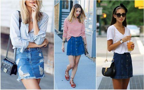 Джинсовая юбка мини с рубашкой и трикотажем