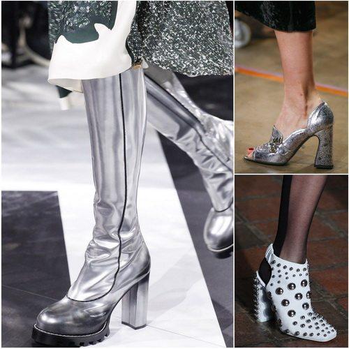Мода на металлик в обуви осенью-зимой 2016-17: Louis Vuitton, Erdem, Alexander Wang