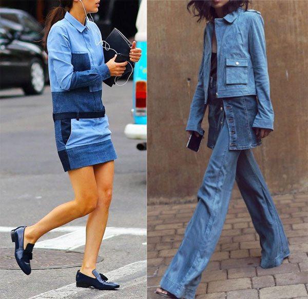Модные джинсы и платье из денима на уличных модницах. Весна, 2016