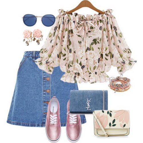 Короткая джинсовая юбка с романтической блузой